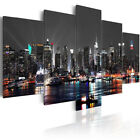 5 Panels New York Night Canvas Print Pictures Wall Art Canvas Framed/Unframed US