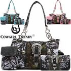Camouflage Buckle Concealed Carry Purse Handbag Women Shoulder Bag Wallet Set