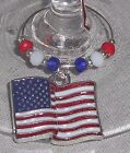 USA American Wavy Enamel Flag & Crystals Beverage Wine Glass Charms