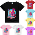 Girls Kids Trolls Cartoon Cotton T-shirt Short Sleeve Casual Summer Costumes image