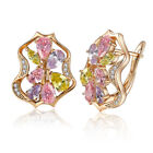Lady Earrings Ear Studs with CZ Crystal Gold Plated Luxury Jewelry Wedding Party