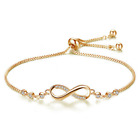 Infinity Love Charm Sterling Silver 925 Adjustable Gold Bracelet Womens Jewelry