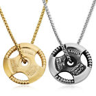 Stainless Steel Gold Silver Black 40mm Dumb-bells Charms Pendant Chain Necklaces