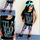 Rac Toddler Kids Baby Girl Vest Tops Pants Headbands 3PCS Outfit Set Clothes US