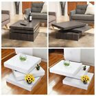 Rotating Coffee Table Modern Style Square 3 Layers Living Room Dining Furniture