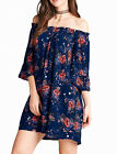 Printed Rayon Off Shoulder 3/4 Length Bell Sleeves w/ Ruffled Challis Dress S~ L