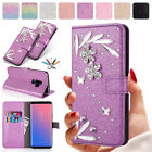 For Samsung Galaxy A8 / A8+ 2018 Phone Case Flower Crystal Leather Wallet Cover