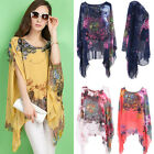 Women Sexy Boho Loose Batwing Sleeve Chiffon Casual Blouse Shirt Tee Tops Blouse