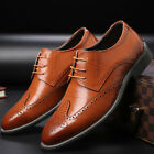 Men Big Size 5-14 Wing Tip Genuine Leather Dress Brogue Lace Up Oxfords Shoes