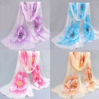 Soft Women Scarf Elegant Floral Printed Long Soft Chiffon Scarves Wraps Shawl