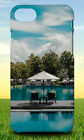 LOUNGE CHAIR SWIMMING POOL BLUE SKY HARD BACK CASE FOR APPLE IPHONE PHONE