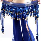 Silver Gold Sequins 3 Rows Belly Dance Costume Hip Wrap Scarf Belt Chiffon Skirt