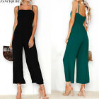 Women Holiday Straps Romper Dress Playsuit Dress Backless Long Wide Leg Jumpsuit