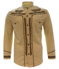 Внешний вид - Men's Charro Shirt Camisa Charra El General Western Wear Beige Long Sleeve