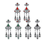 Retro Fashion Woman Platinum Plated Earrings Black Green Red Drop Stud Clasp