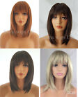 WOMENS LADIES RAZOR CUT SHOULDER LENGTH WIG BLONDE BROWN BLACK GINGER MIX UK