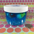"""Clear """"Fish Tank"""" Fishbowl BLUE Slime Colorful Fish Bowl Charm 6 8 oz Container"""
