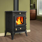 Modern Wood Burning Stove Cast Iron Log Burner MultiFuel Woodburner Stove 7.5KW