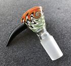 14mm / 18mm Male Wig Wag Glass Slide Bowl With Handle - Green/Orange