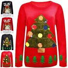 Ladies Women XMAS Special TREE Christmas 3D Jumper With LED Flashing Light 8-24