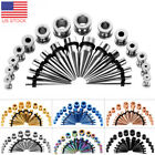 28PCS Ear Stretching Gauges Set Tapers Tunnels Plugs Kit 12G-00G Stainless Steel image