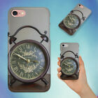 BROWN FRAMED ALARM CLOCK ON BROWN TABLE HARD BACK CASE FOR APPLE IPHONE PHONE