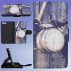 ALARM CLOCK HANGING ON BRANCH FLIP WALLET CASE FOR APPLE IPHONE PHONES
