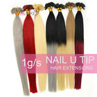 "16-22"" Pre Bonded Keratin Glue Nail/U Tip Remy Human Hair Extensions 1g/s 50S"