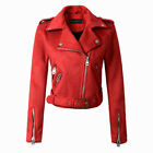 Fashion Lady Motorcycle Coat Biker Outerwear Women Suede Faux Leather Jackets