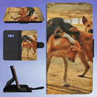 TAN BLACK DOG FIGHTING WITH TAN DOG FLIP CASE COVER FOR SAMSUNG GALAXY PHONE