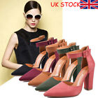 UK Womens Pointed Toe Sandals Block High Heels Pumps Ankle Buckle Shoes Size
