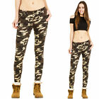 New Womens Hipster Slim Skinny Stretch Army Military Camouflage Trousers Pants