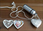 Cremation Jewellery Ashes Urn w Silver Heart Locket Keepsake Memorial Necklace