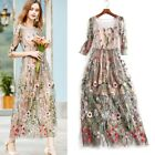 Women's Floral Embroidery Long Sleeve Dress Evening Party Cocktail Maxi Dress US
