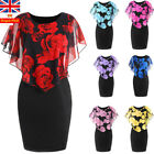 Uk Plus Size Women Floral Mini Dress Bodycon Ladies Holiday Evening Party Dress