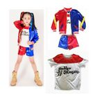 For Kids Suicide Squad Harley Quinn Halloween Cosplay Coat+T-shirt+Shorts Set US