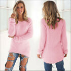 New Women Casual Fluffy Fur Sweater Tops Ladies Autumn Loose Baggy Jumper Blouse