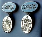 Yellow, White or Rose Gold Oval Chained Cufflinks - Hand Engraved Family Crest