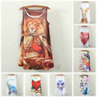 Women Sleeveless Colored Graphic Printed Loose Vest Blouse Tank Tops T-Shirts