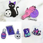 Witch Lovely Cat Enamel Brooch Pins Badge Set Coffin Pink Ghost Death Cat Skull