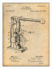 1898 Pharmacist's Tablet Machine Patent Print Art Drawing Poster 18X24