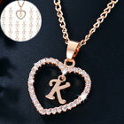 Unisex 18k Gold Filled Necklace Heart Letter Abc Inlaid Crystal Pendant Jewelry
