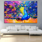 EP_ Colored Drawing Peacock Bedroom Wall Art Decor Unframed Canvas Painting Natu