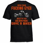 T Shirt biker Skull Motorcycle no Harley tattoo rocker funny open your eyes  image