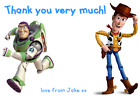 personalised birthday party thank you notes TOY STORY BUZZ LIGHTYEAR WOODY DISNE