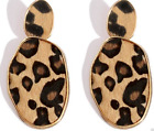 NEW LEOPARD PRINT LARGE STATEMENT GOLD TONE DROP DANGLE EARRINGS UK SELLER