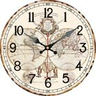 Vintage Round Wooden Wall Clock worldwide map angels Home Office Decor Gifts