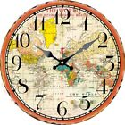 Vintage Round Wooden Wall Clock Colorful worldwide map Home Office Decor Gifts