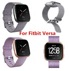 Woven Fabric Strap Wrist Bands w/ Stainless Metal Clasp for Fitbit Versa  image