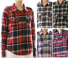 Junior Size Long Sleeve Front Pocket Plaid Shirt Top  S~L